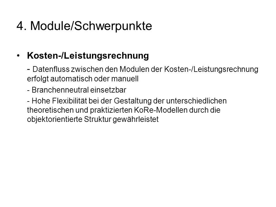 4. Module/Schwerpunkte Kosten-/Leistungsrechnung