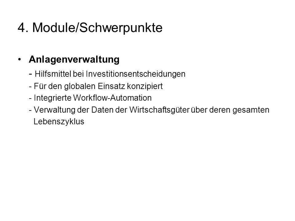 4. Module/Schwerpunkte Anlagenverwaltung