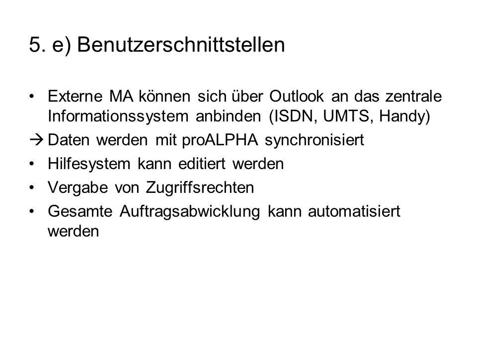5. e) Benutzerschnittstellen