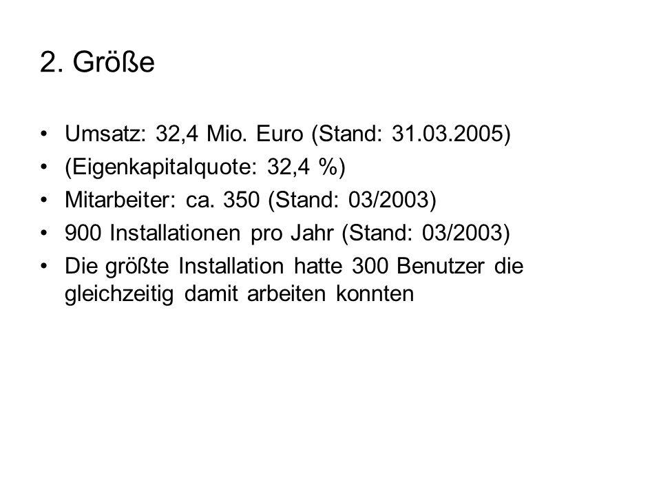 2. Größe Umsatz: 32,4 Mio. Euro (Stand: 31.03.2005)