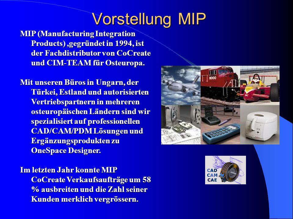 Vorstellung MIP MIP (Manufacturing Integration Products) ,gegründet in 1994, ist der Fachdistributor von CoCreate und CIM-TEAM für Osteuropa.