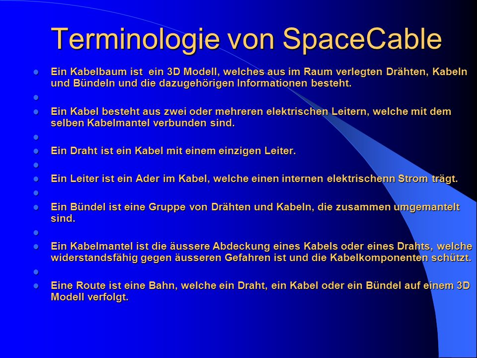 Terminologie von SpaceCable