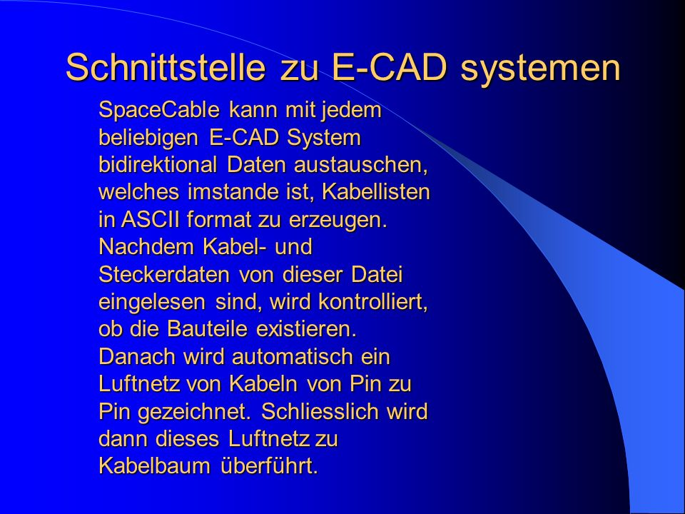 Schnittstelle zu E-CAD systemen