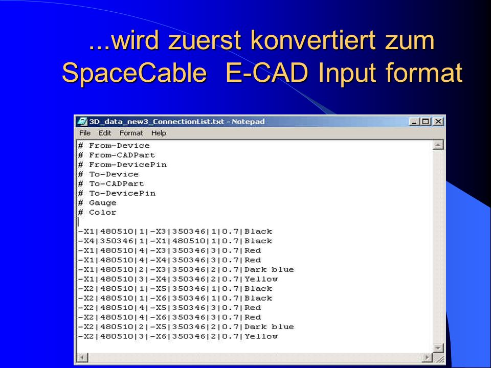 ...wird zuerst konvertiert zum SpaceCable E-CAD Input format