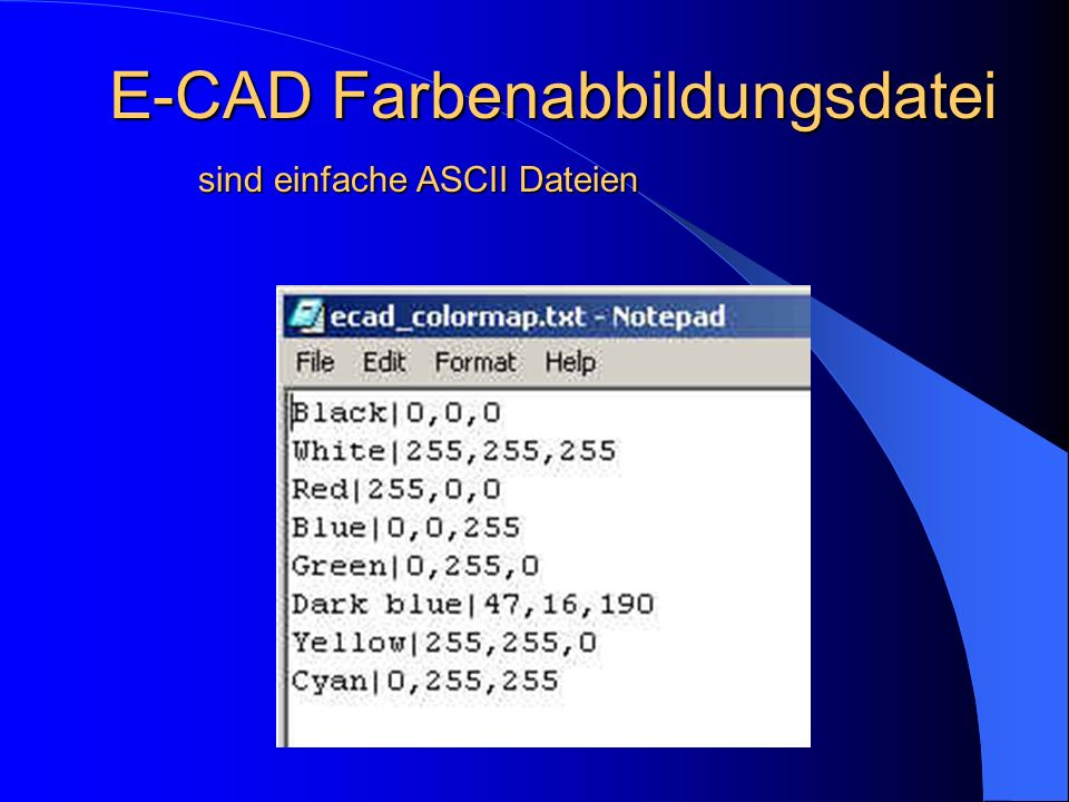E-CAD Farbenabbildungsdatei