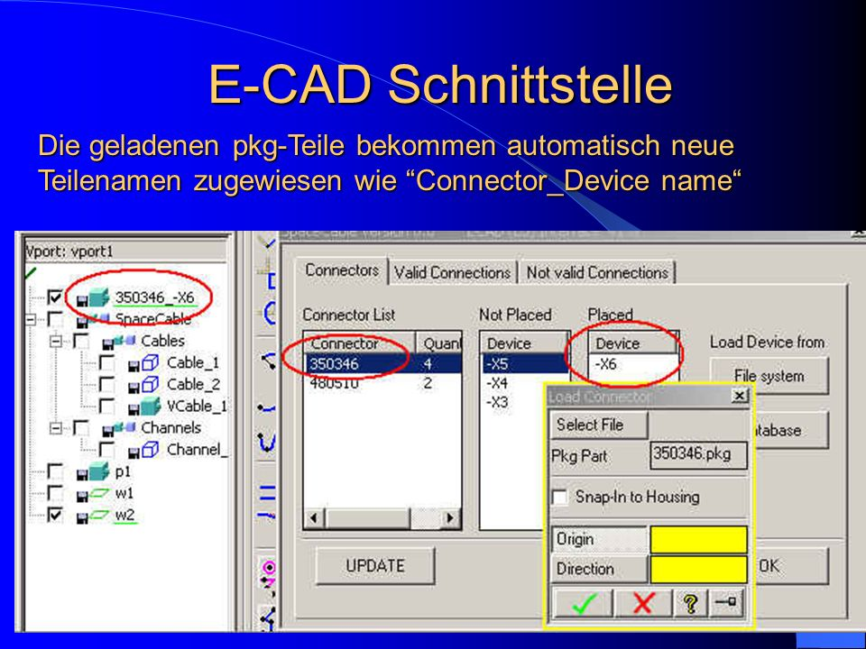 E-CAD Schnittstelle Die geladenen pkg-Teile bekommen automatisch neue Teilenamen zugewiesen wie Connector_Device name