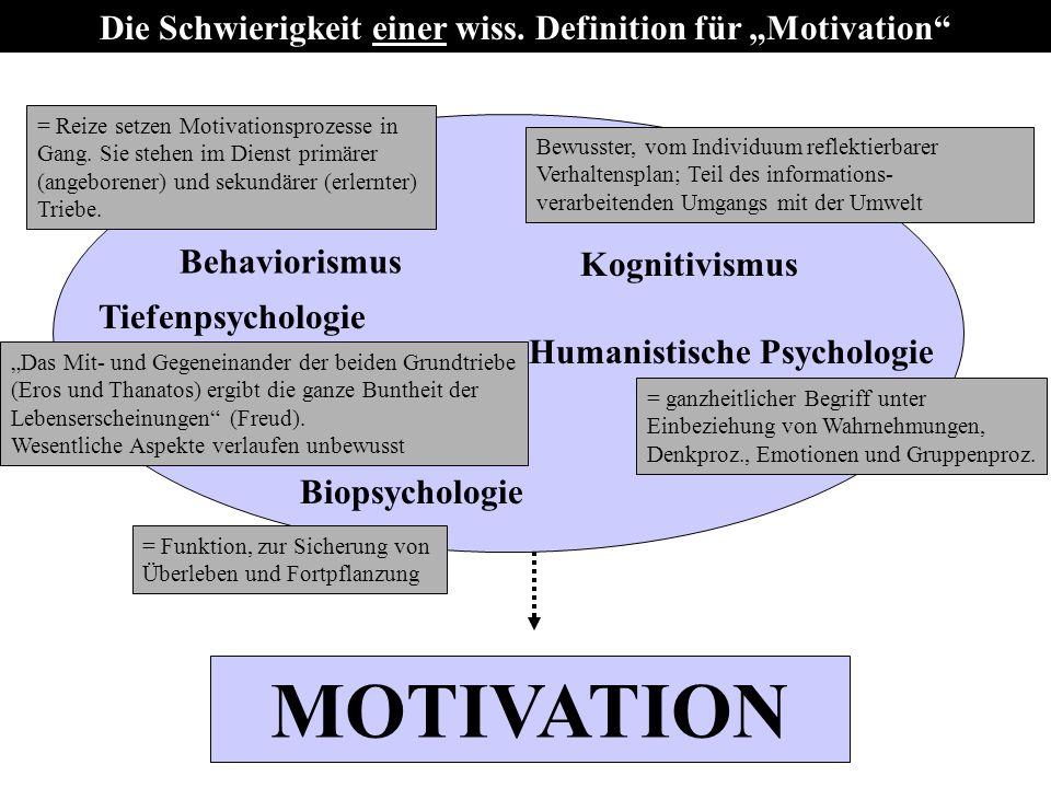 """Die Schwierigkeit einer wiss. Definition für """"Motivation"""