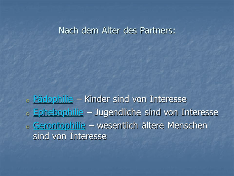 Nach dem Alter des Partners: