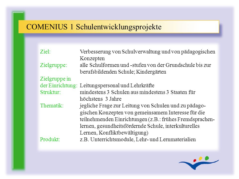 COMENIUS 1 Schulentwicklungsprojekte