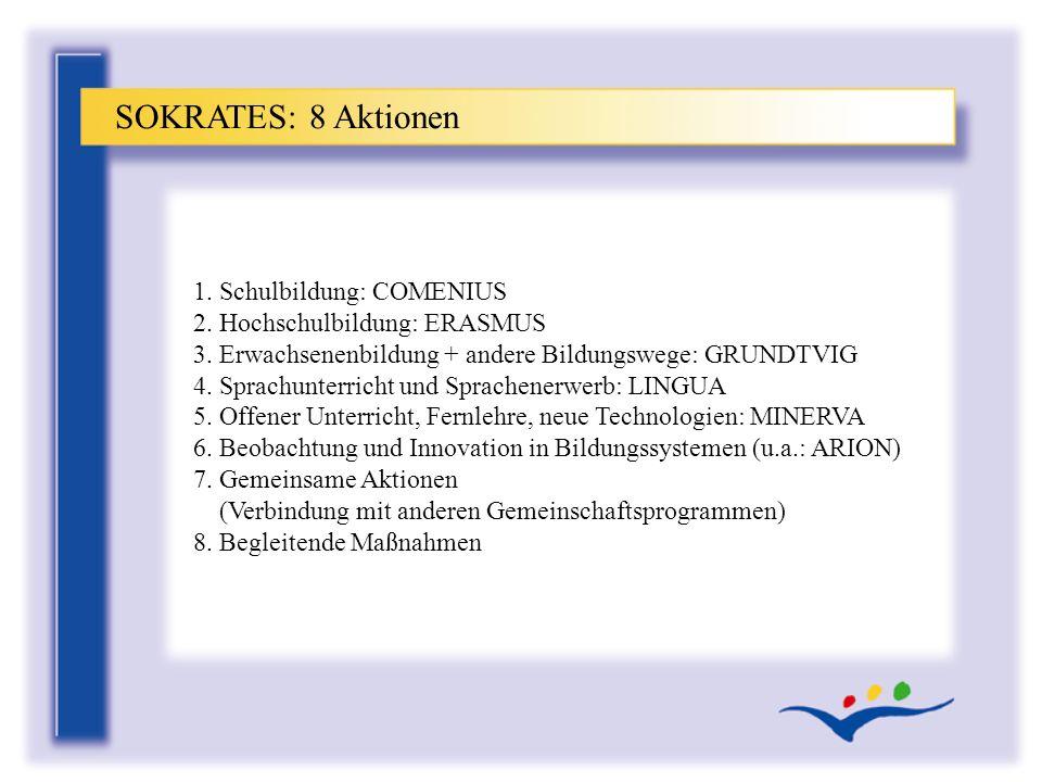 SOKRATES: 8 Aktionen 1. Schulbildung: COMENIUS