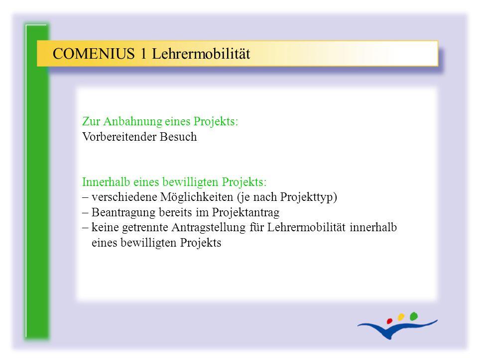 COMENIUS 1 Lehrermobilität