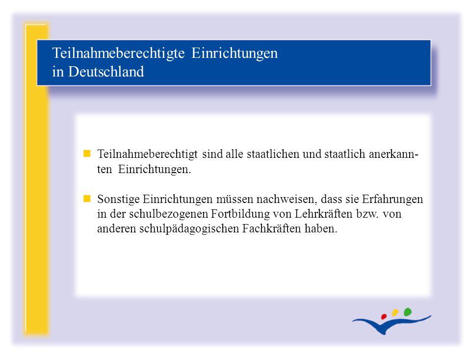 Teilnahmeberechtigte Einrichtungen in Deutschland