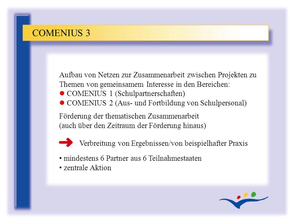 COMENIUS 3 Aufbau von Netzen zur Zusammenarbeit zwischen Projekten zu Themen von gemeinsamem Interesse in den Bereichen: