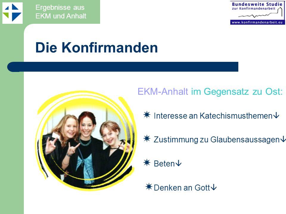 Die Konfirmanden EKM-Anhalt im Gegensatz zu Ost: