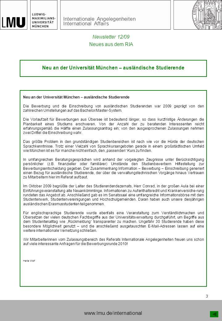 Neu an der Universität München – ausländische Studierende