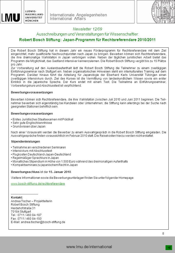 Robert Bosch Stiftung: Japan-Programm für Rechtsreferendare 2010/2011