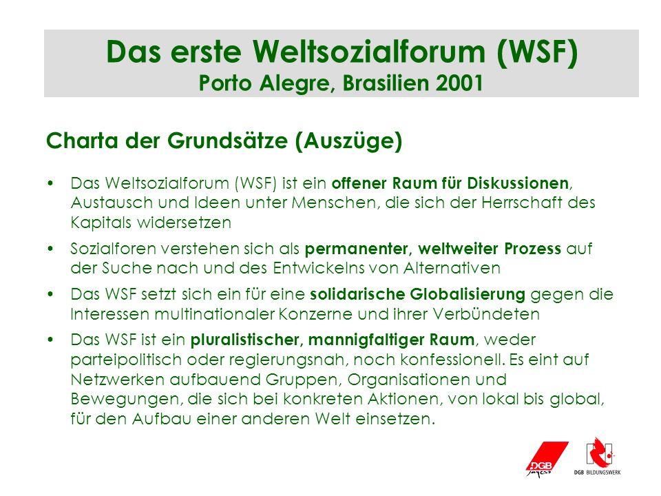 Das erste Weltsozialforum (WSF) Porto Alegre, Brasilien 2001