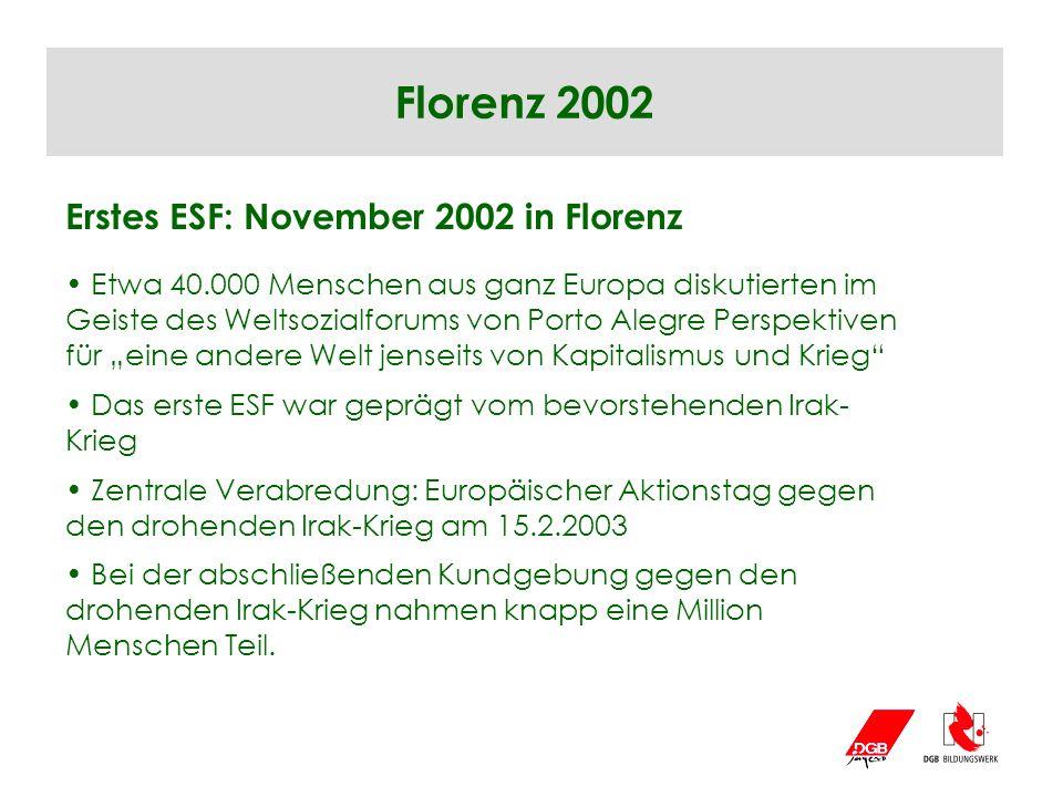 Florenz 2002 Erstes ESF: November 2002 in Florenz