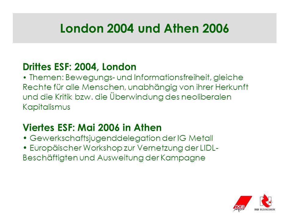 London 2004 und Athen 2006 Drittes ESF: 2004, London