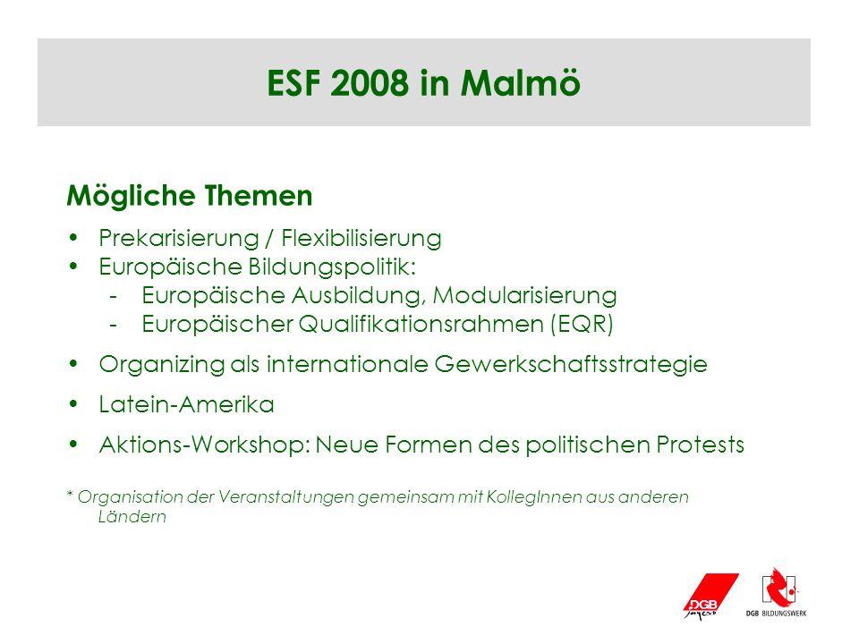 ESF 2008 in Malmö Mögliche Themen Prekarisierung / Flexibilisierung