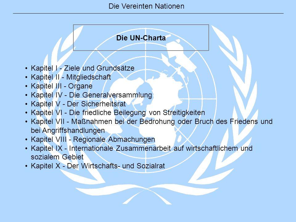 Die UN-Charta Kapitel I - Ziele und Grundsätze. Kapitel II - Mitgliedschaft. Kapitel III - Organe.
