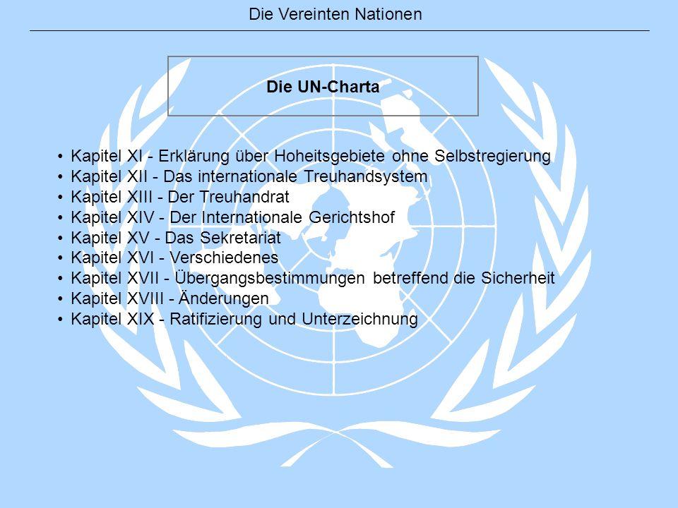 Die UN-Charta Kapitel XI - Erklärung über Hoheitsgebiete ohne Selbstregierung. Kapitel XII - Das internationale Treuhandsystem.