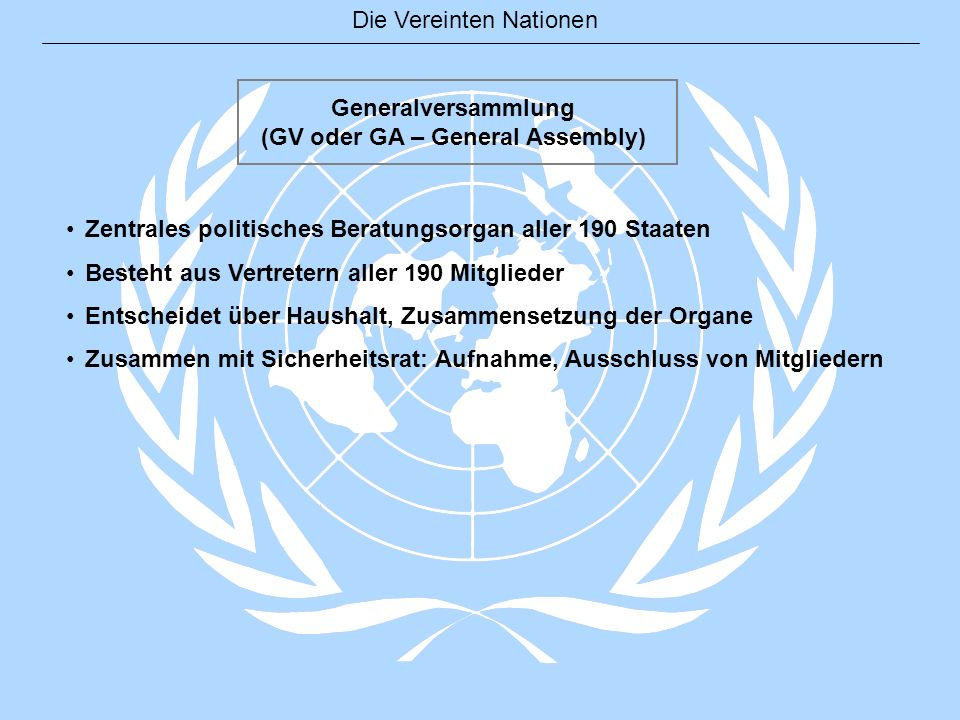 (GV oder GA – General Assembly)