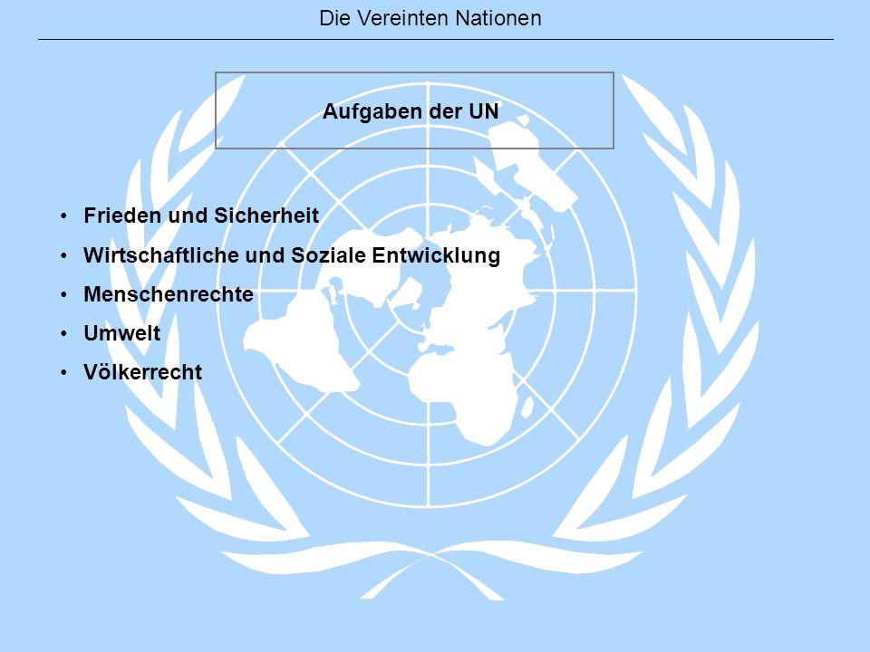 Aufgaben der UN Frieden und Sicherheit. Wirtschaftliche und Soziale Entwicklung. Menschenrechte. Umwelt.