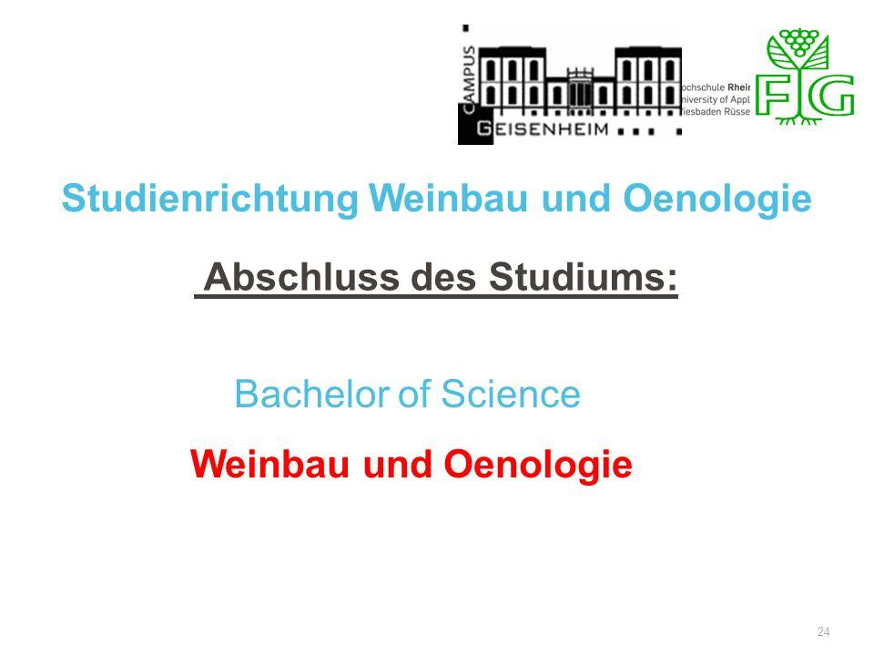 Studienrichtung Weinbau und Oenologie Abschluss des Studiums: