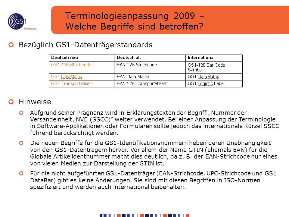 Terminologieanpassung 2009 – Welche Begriffe sind betroffen