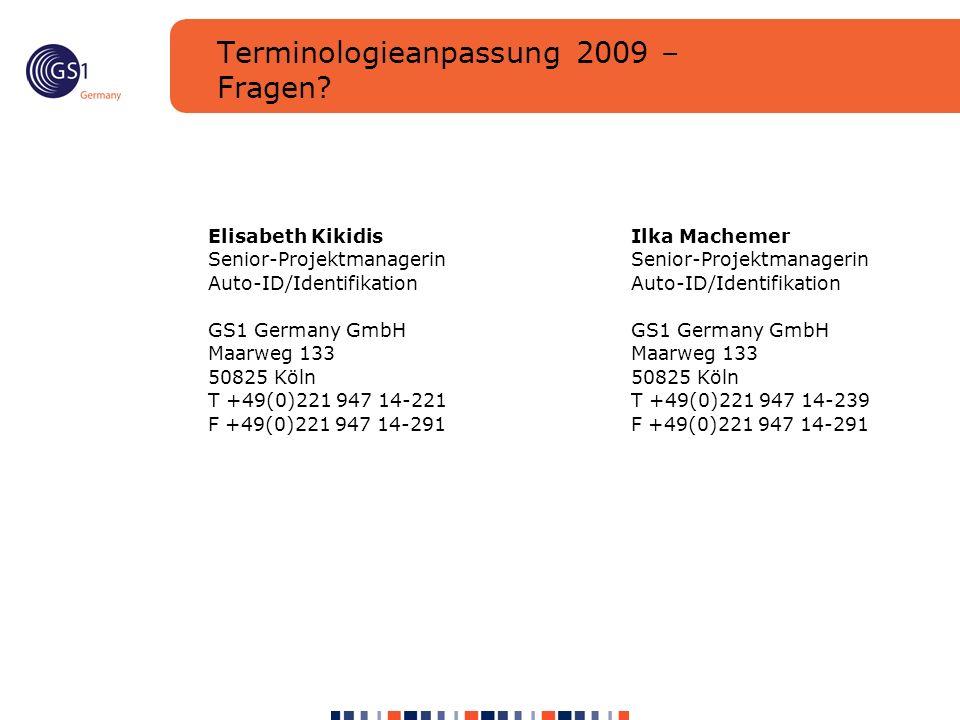 Terminologieanpassung 2009 – Fragen