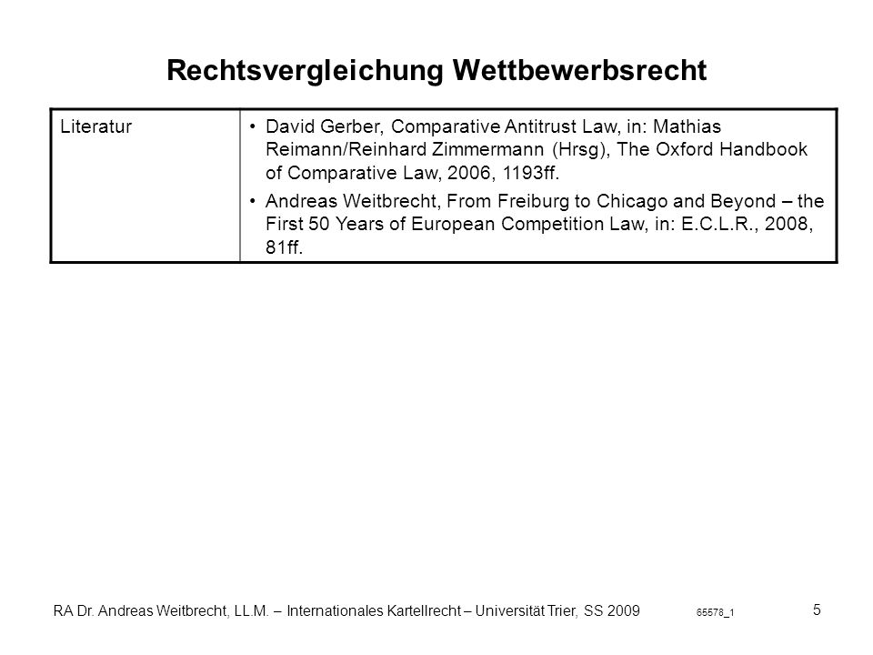 Rechtsvergleichung Wettbewerbsrecht