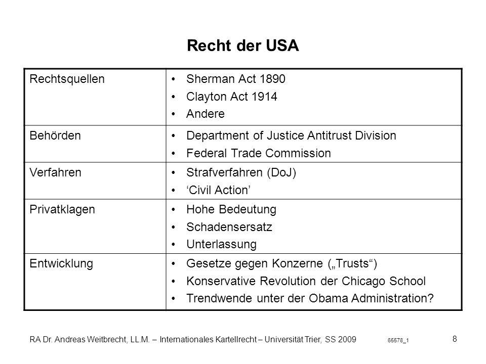 Recht der USA Rechtsquellen Sherman Act 1890 Clayton Act 1914 Andere