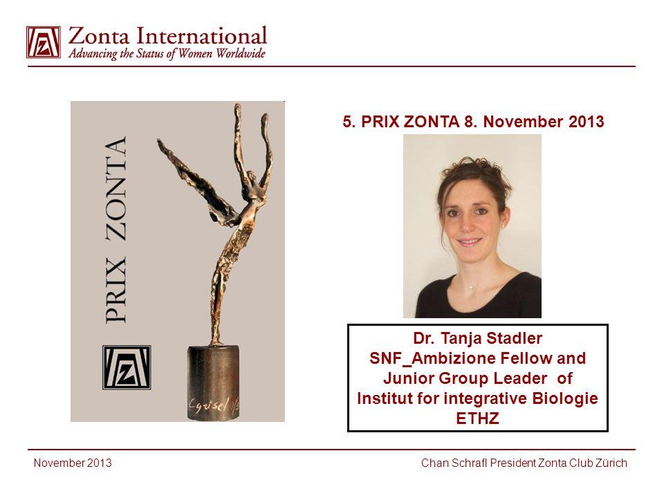 5. PRIX ZONTA 8. November 2013 Dr. Tanja Stadler SNF_Ambizione Fellow and Junior Group Leader of Institut for integrative Biologie ETHZ.
