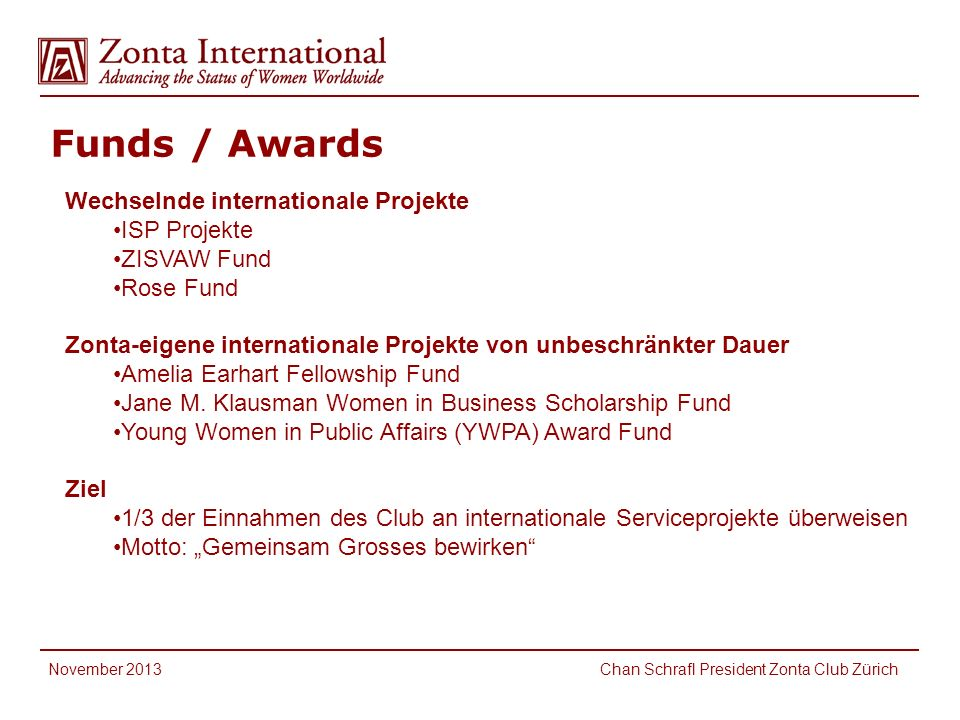 Funds / Awards International Service Fund