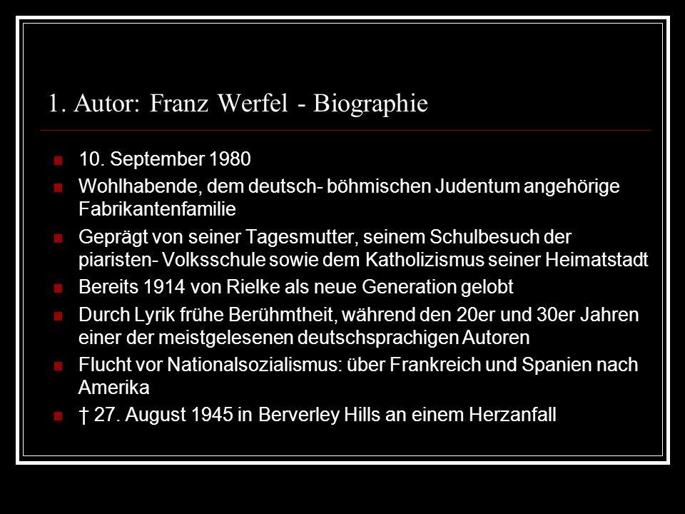 1. Autor: Franz Werfel - Biographie
