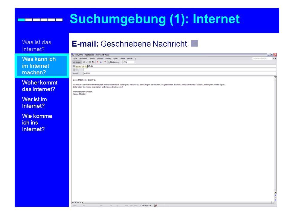 Suchumgebung (1): Internet