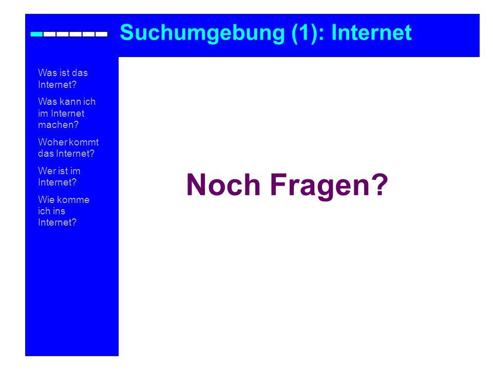 Noch Fragen Suchumgebung (1): Internet Was ist das Internet
