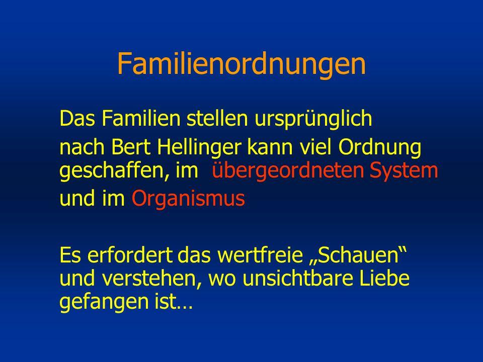 Familienordnungen Das Familien stellen ursprünglich