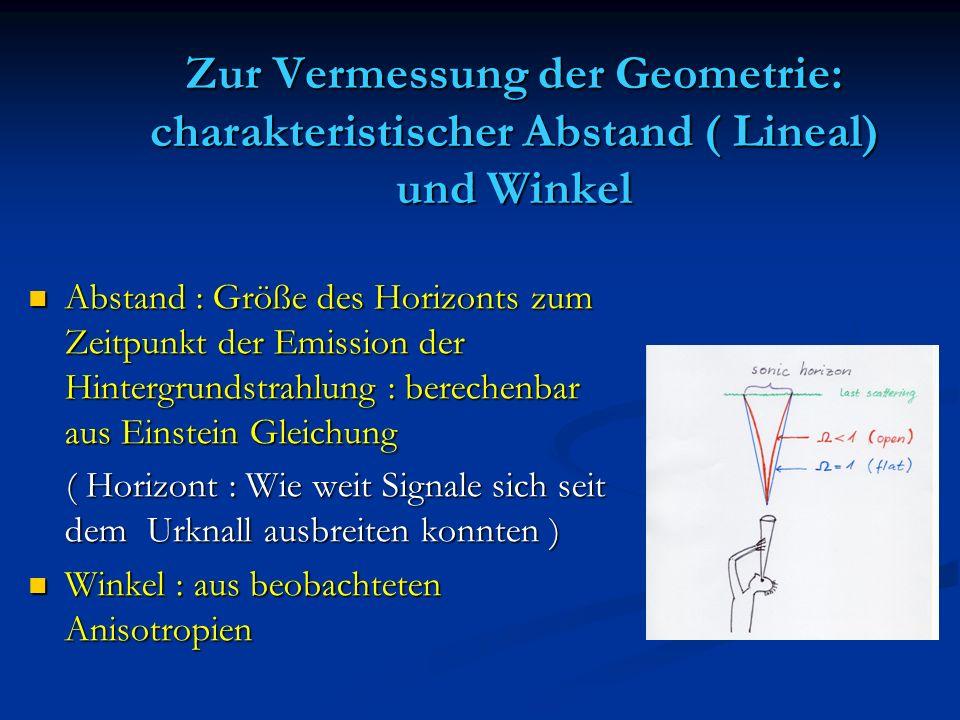 Zur Vermessung der Geometrie: charakteristischer Abstand ( Lineal) und Winkel