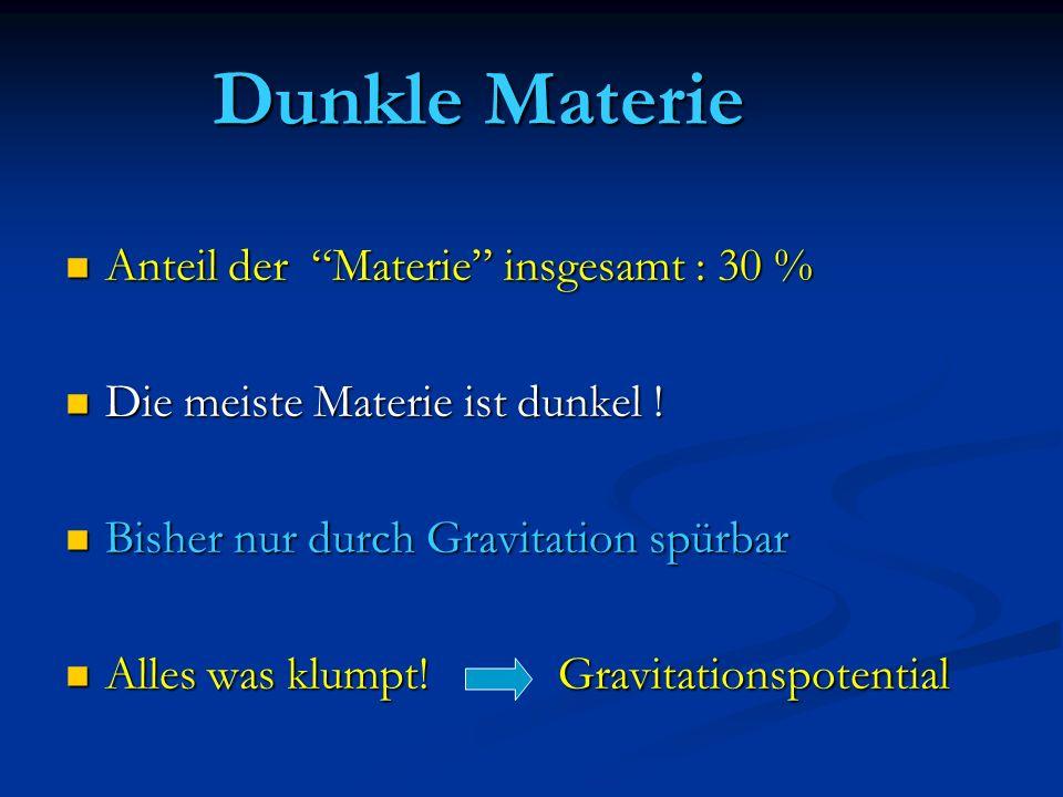 Dunkle Materie Anteil der Materie insgesamt : 30 %