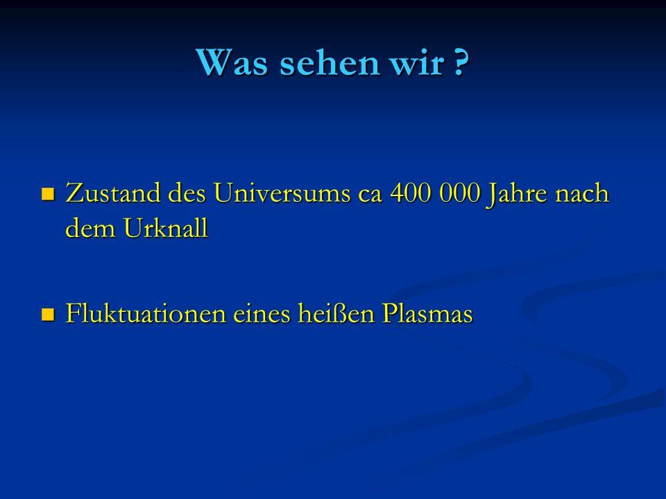 Was sehen wir . Zustand des Universums ca 400 000 Jahre nach dem Urknall.