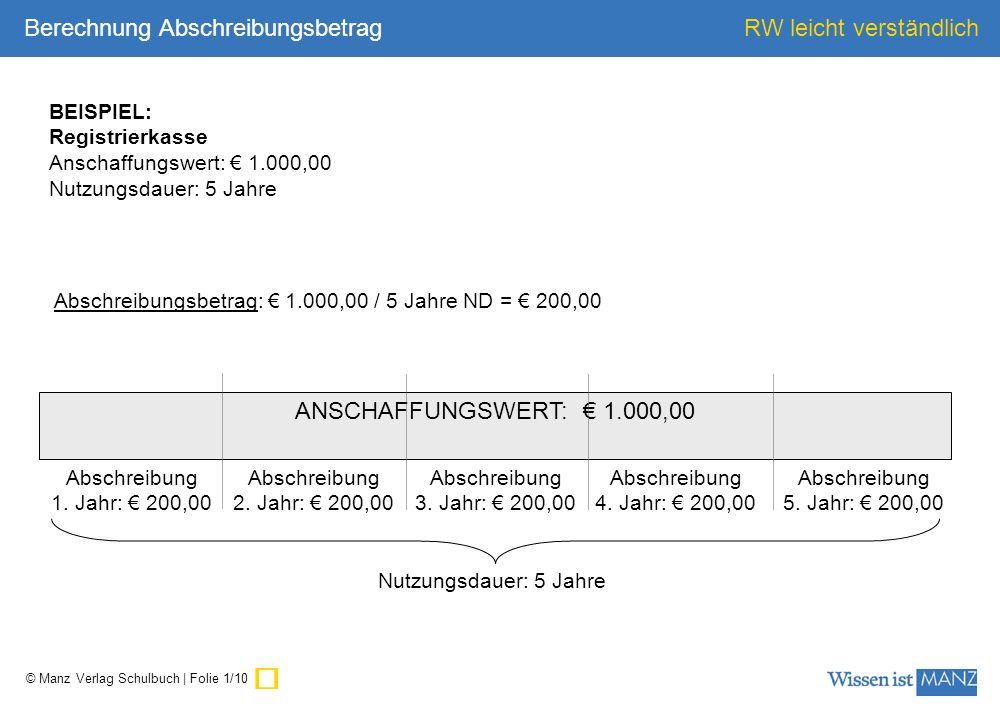 ü Berechnung Abschreibungsbetrag ANSCHAFFUNGSWERT: € 1.000,00