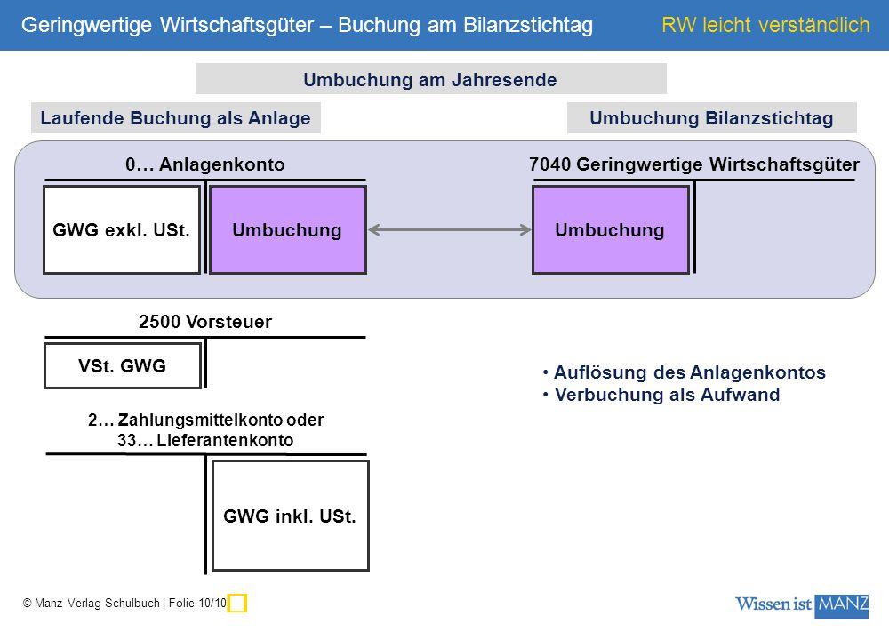 ü Geringwertige Wirtschaftsgüter – Buchung am Bilanzstichtag