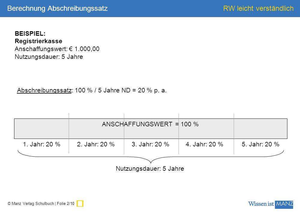 ü Berechnung Abschreibungssatz BEISPIEL: Registrierkasse