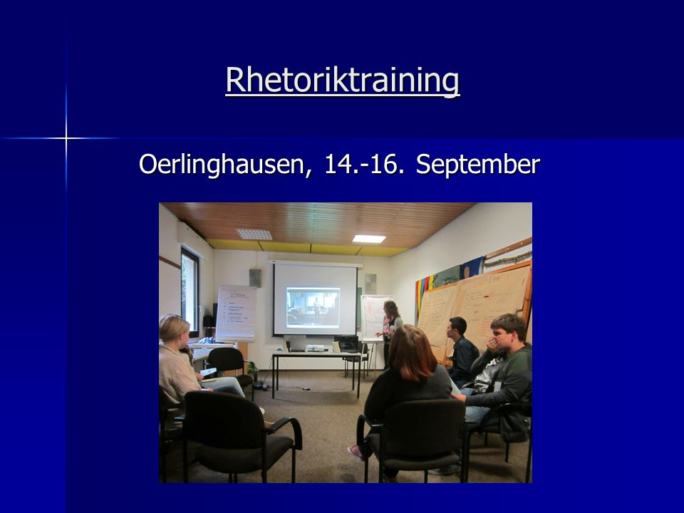 Rhetoriktraining Oerlinghausen, 14.-16. September