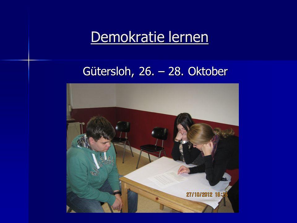 Demokratie lernen Gütersloh, 26. – 28. Oktober