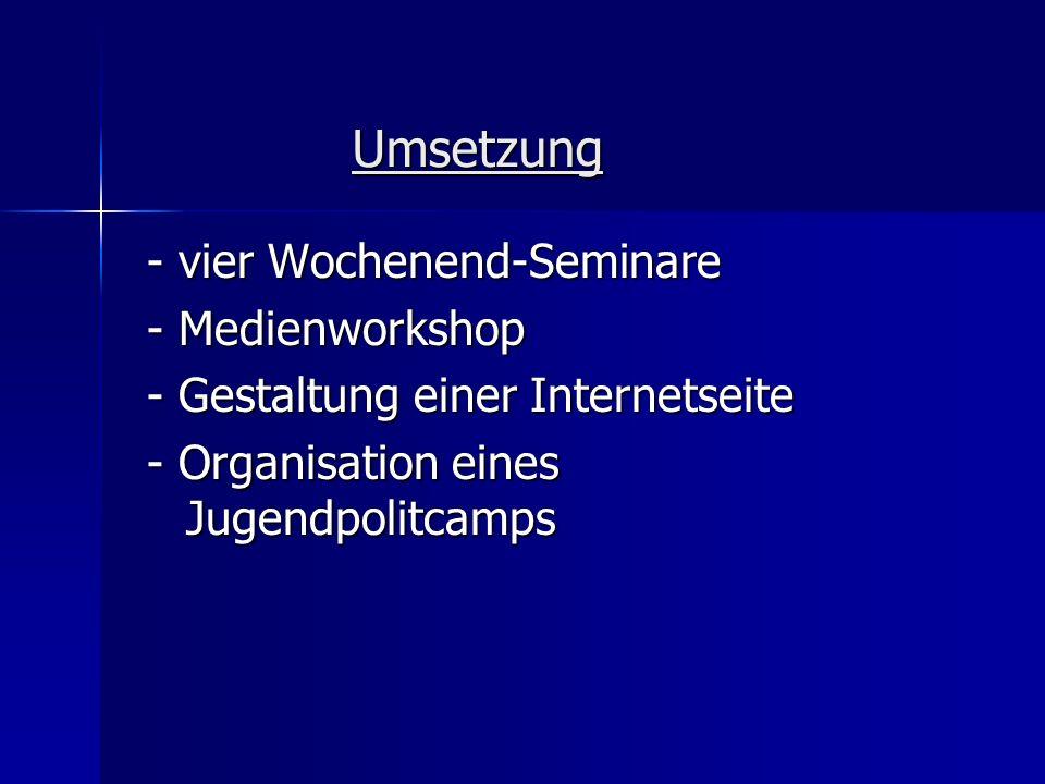 Umsetzung - vier Wochenend-Seminare - Medienworkshop