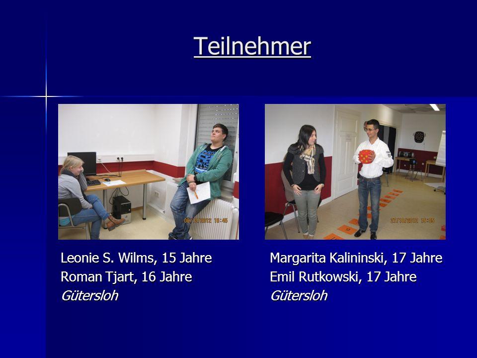 Teilnehmer Leonie S. Wilms, 15 Jahre Roman Tjart, 16 Jahre Gütersloh