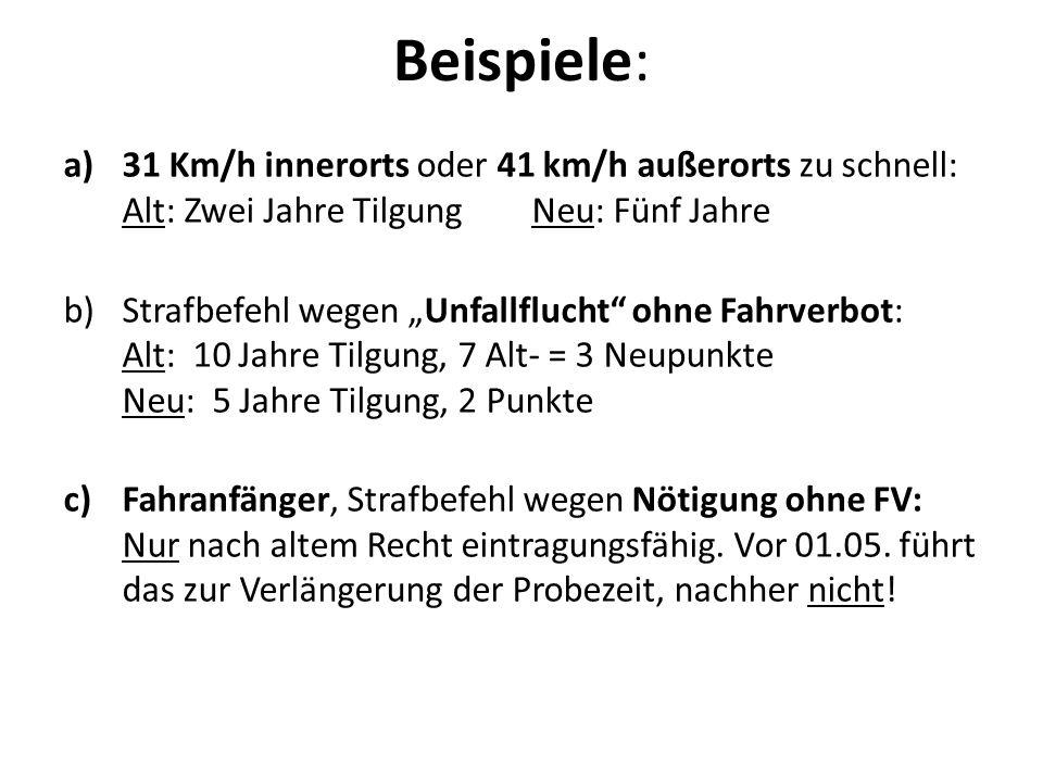 Beispiele: 31 Km/h innerorts oder 41 km/h außerorts zu schnell: Alt: Zwei Jahre Tilgung Neu: Fünf Jahre.